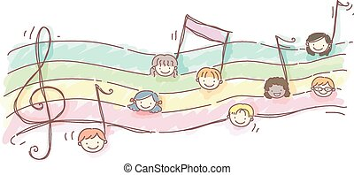 Stickman Kids Music Sheet