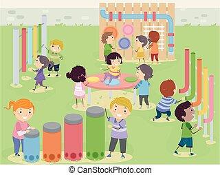 Stickman Kids Musical Sensory Garden Illustration