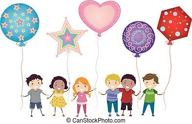 Stickman Kids Mylar Balloons Illustration