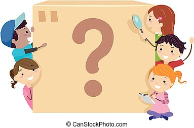 Stickman Kids Mystery Box Illustration