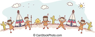 Stickman Kids Native American Indian Tribe