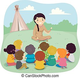 Illustration of Stickman Kids Listening to a Native American Telling Story with a Teepee in the Background