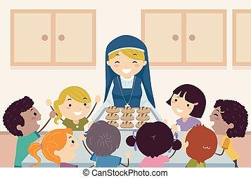 Stickman Kids Nun Bread Illustration