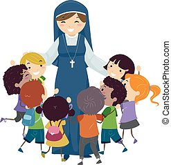 Stickman Kids Nun Hug Illustration