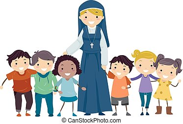 Stickman Kids Nun Illustration