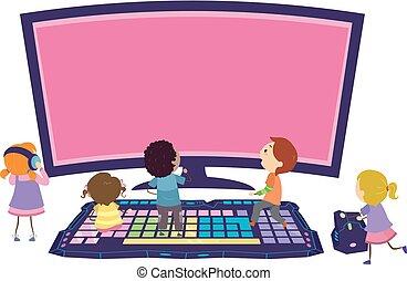 Stickman Kids Online Games Team Play Illustration