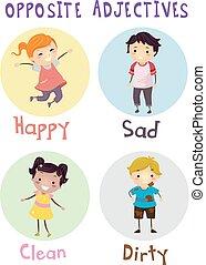 Stickman Kids Opposite Adjectives Illustration
