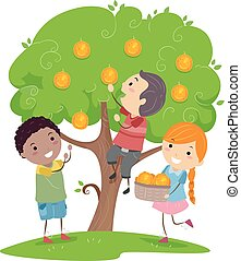 Stickman Kids Orange Tree Illustration