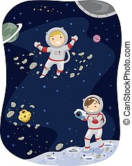Stickman Kids Outer Space Photo - Stickman Illustration of...