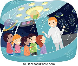 Stickman Kids Outer Space Study Tour