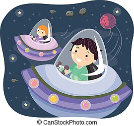 Stickman Kids Outer Space Travel