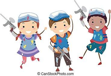 Stickman Kids Paint Ball Illustration - Illustration of...