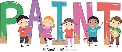 Stickman Kids Paint Illustration