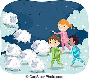 Stickman Illustration of Kids in Pajamas Chasing After Sheep