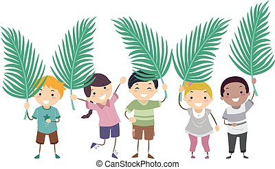 Stickman Kids Palm Sunday Leaves Illustration
