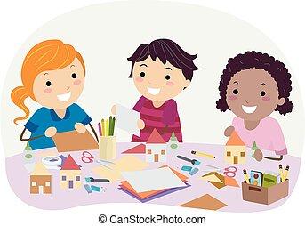 Stickman Kids Paper House Craft Illustration