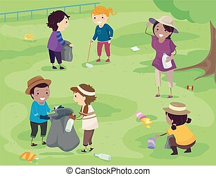 Stickman Kids Park Clean Up Illustration