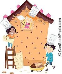 Stickman Kids Pastry House Build