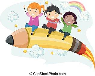 Stickman Kids Pencil Rocket Illustration