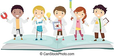 Stickman Kids Physics Book Lab Illustration