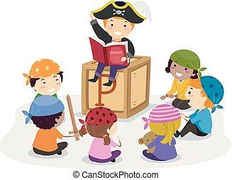 Stickman Kids Pirates Story Telling Illustration
