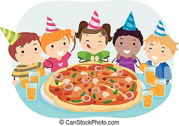 Stickman Kids Pizza Birthday Party Illustration