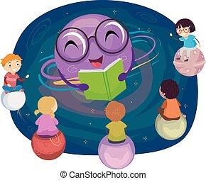 Stickman Kids Planet Mascot Story Illustration