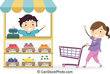 Stickman Kids Play Grocery Shop Illustration