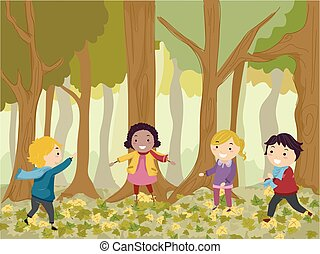 Stickman Kids Play In Woods Illustration