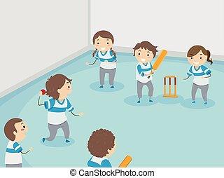 Stickman Kids Play Indoor Cricket Illustration