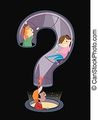Stickman Kids Play Question Mark Illustration