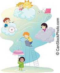 Stickman Kids Play Weather Types