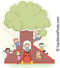 Stickman Kids Playground Tree Illustration