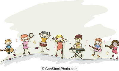 Stickman Kids Playing Music - Illustration of Multi-racial...