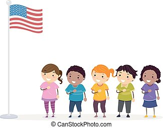 Stickman Kids Pledge Flag Illustration