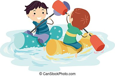 Stickman Kids Pool Fight Illustration
