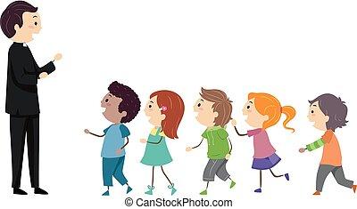 Stickman Kids Priest Line Illustration
