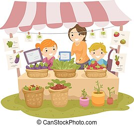 Stickman Kids Produce Stand Adult - Illustration of Stickman...
