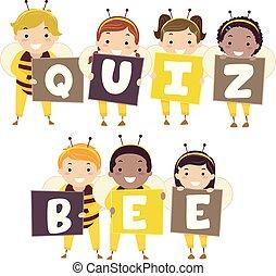 Stickman Kids Quiz Bee Illustration