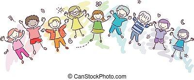 Stickman Kids Rainbow Children Illustration