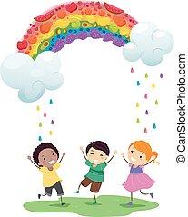 Stickman Kids Rainbow Fruits Rain Illustration