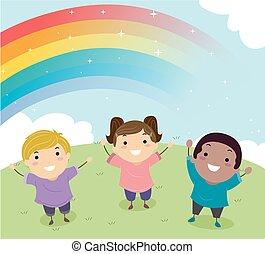 Stickman Kids Rainbow Illustration