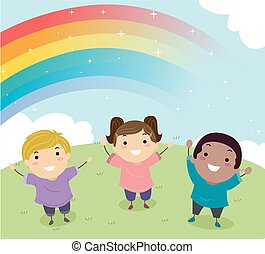 Stickman Kids Rainbow Illustration
