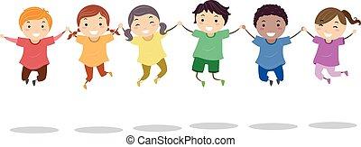 Stickman Kids Rainbow Shirts Jump