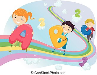 Stickman Kids Rainbow Walk - Stickman Illustration of Kids...