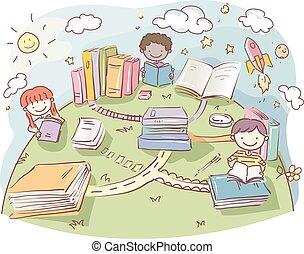 Stickman Kids Read Books Road Earth