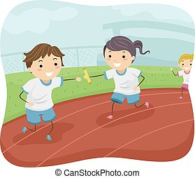 Stickman Kids Relay Race - Illustration of Kids...
