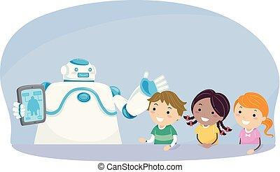 Stickman Kids Robot Explain Tablet Illustration