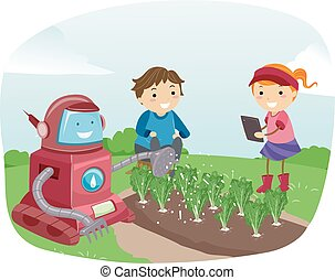 Illustration of Stickman Kids Controlling a Robot using Mobile Device to Water the Crops