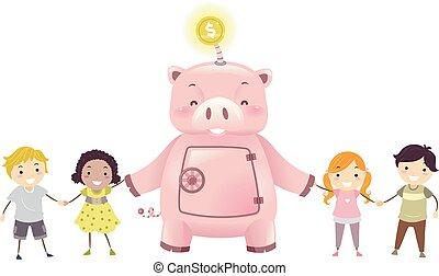 Stickman Kids Robot Piggy Bank Illustration